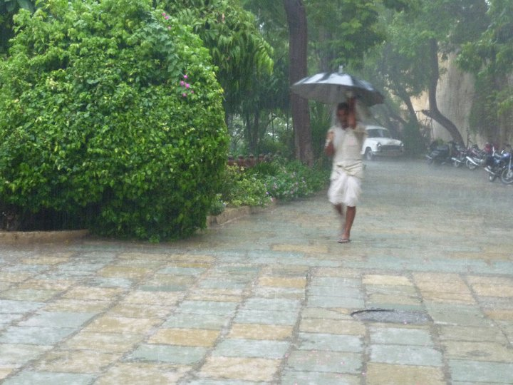 walking in the monsoon rain in India