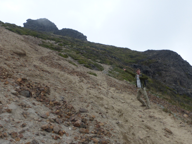 the scree slope - great fun coming down the Pichincha volcano