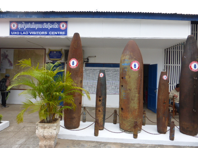 bomb casings outside the UXO museum