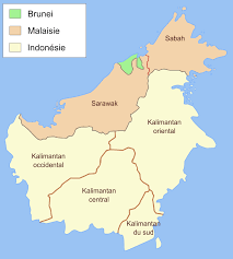 Map showing the position of Brunei in Borneo
