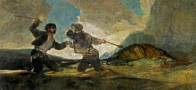 goya black paintings, fight with cudgels