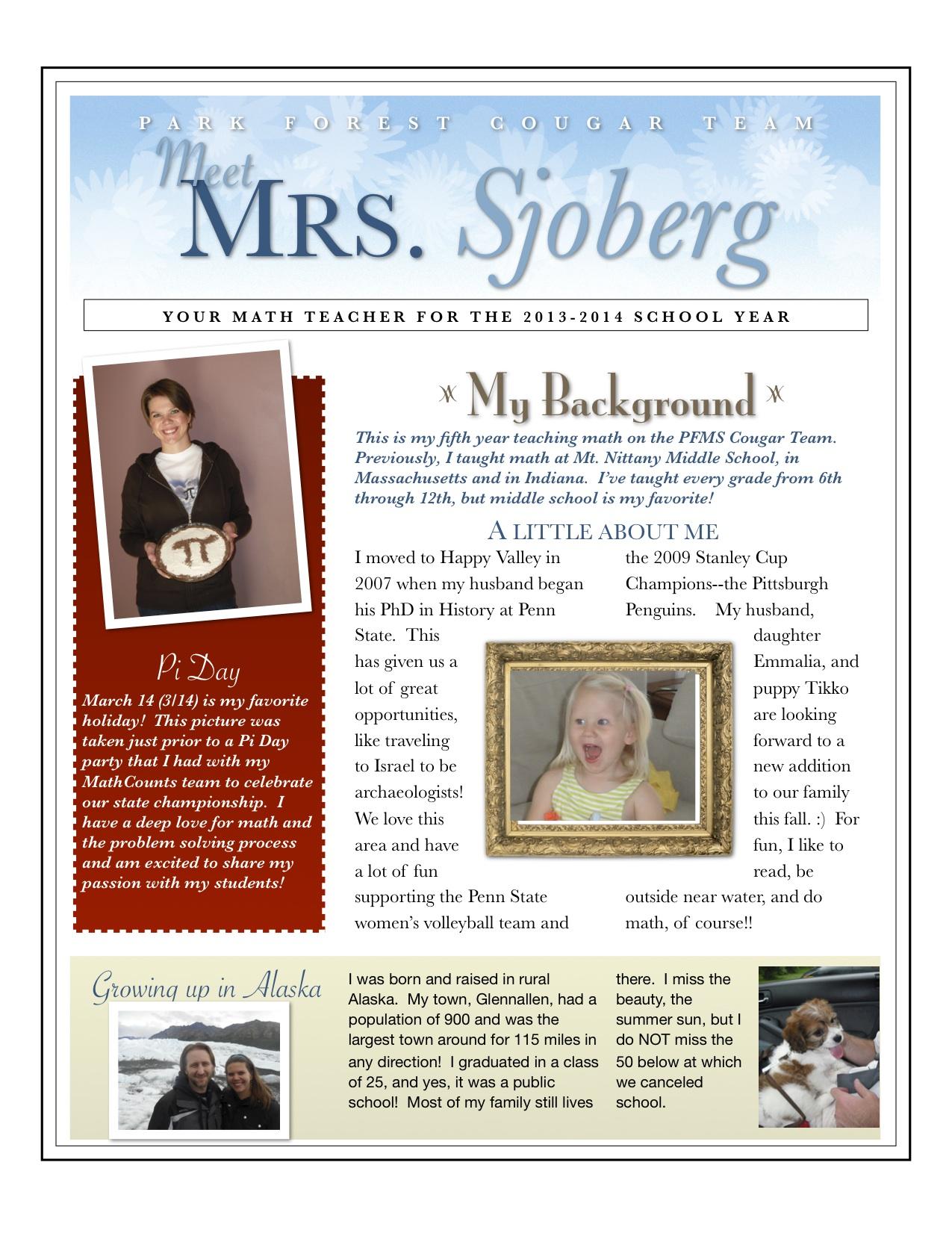 Sjoberg Rebekah 7 8th Math About Mrs Sjoberg
