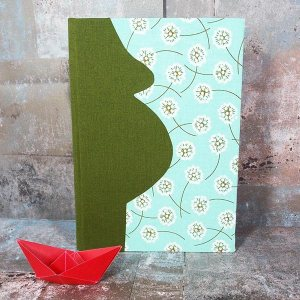 Grünes Schwangerschaftstagebuch Blumen