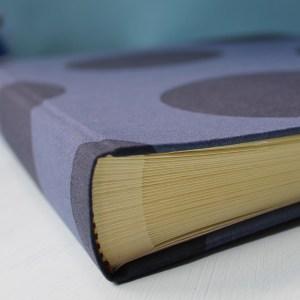 Blaues Fotoalbum mit riesen Punkten