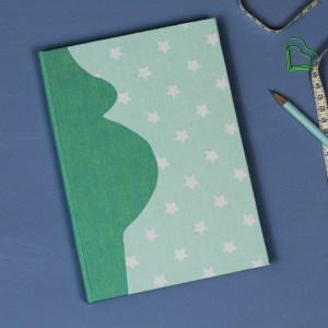 Schwangerschaftstagebuch zartes Grün mit Mint und weißen Sternen