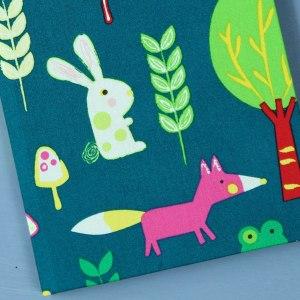 Petrolfarbenes Babytagebuch mit pink Fuchs