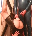 Master Mike pissing in slave asshole through funnel