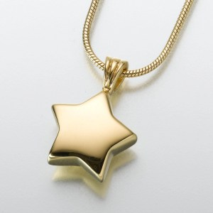 Gold Vermeil star memorial ashes pendant