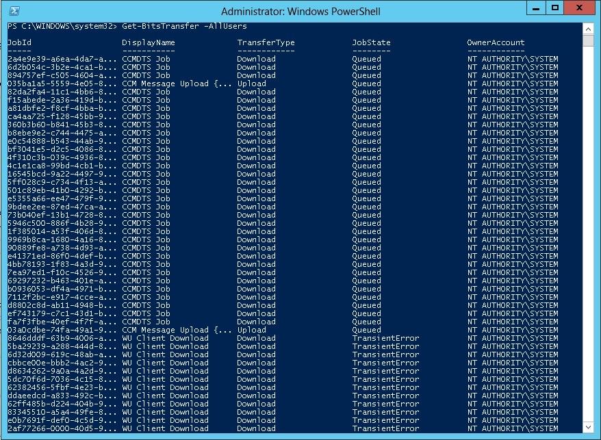 How to reset BITS transfer queue \u2013 System Center ConfigMgr