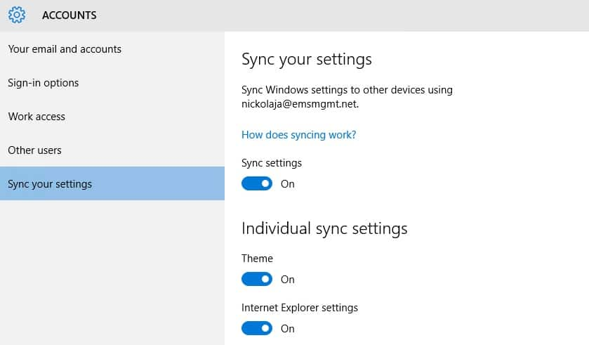 Synchronize User and Application settings to Azure AD with