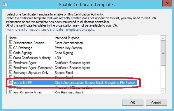 Prepare your environment for scep certificate enrollment with you should now see the intune ndes certificate template in the list of issues certificate templates yelopaper Gallery