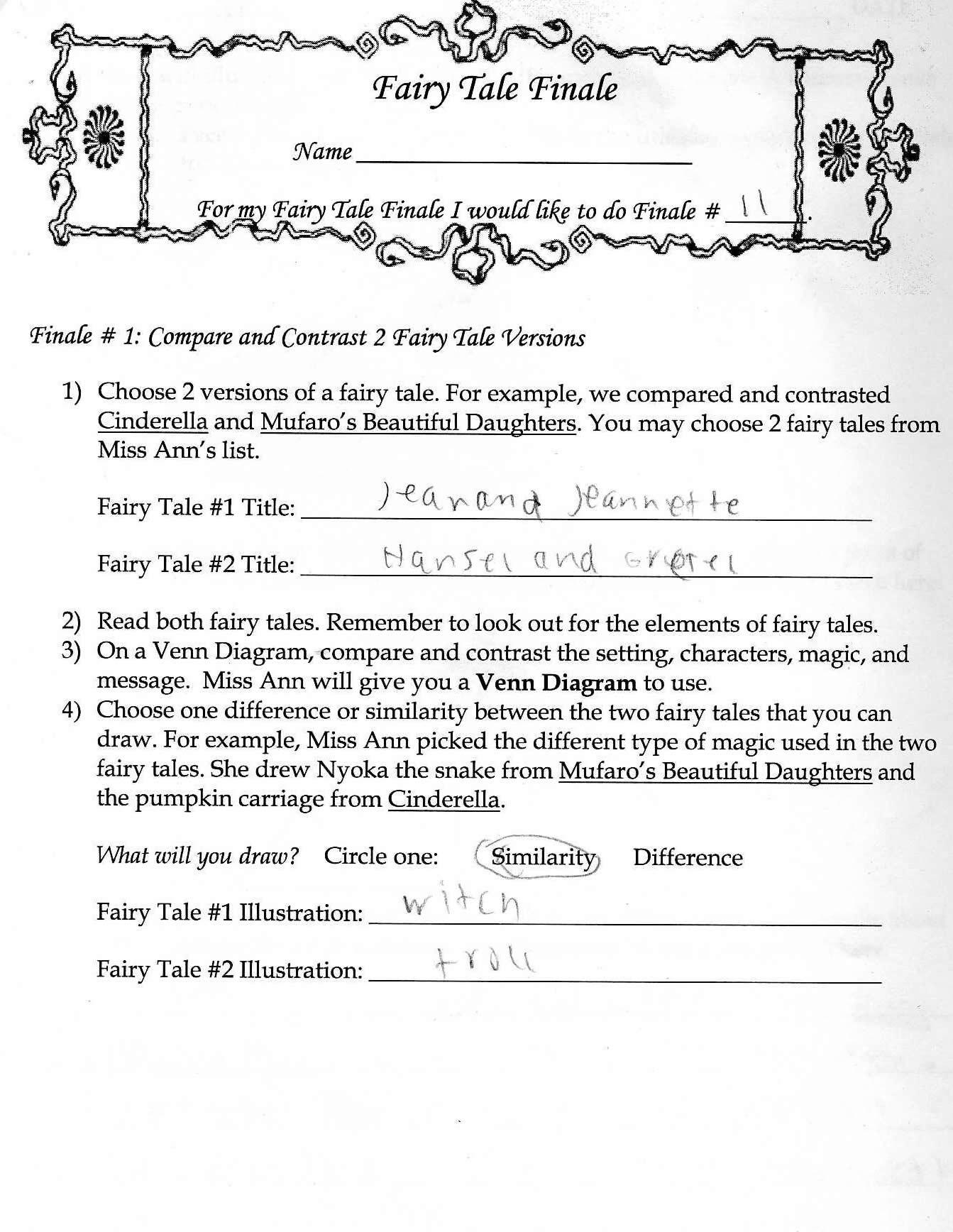 Grimm Fairy Tale Worksheet