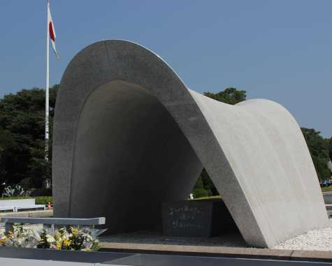 Sophomore Nina Dym visited the memorial cenotaph, which represents the souls of the Hiroshima bombing victims.