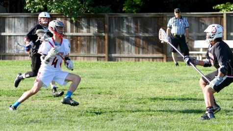 Junior Aidan Cunningham (4) led the lacrosse boys in scoring, with 4 goals. The Cavs won their first game of the season, 9-4, against Bella Vista on April 20.