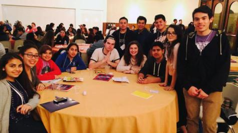 At the Latinx Summit, junior Kaeleigh Valverde, sophomore Esme Bruce-Romo, freshmen Gabi Alvarado and Yanele Ledesma, juniors Austin Talamantes and Alexa Mathisen, freshman Alan Gallardo and junior Maryjane Garcia (seated from left to right) dine with students from Bellarmine College Preparatory in San Jose.