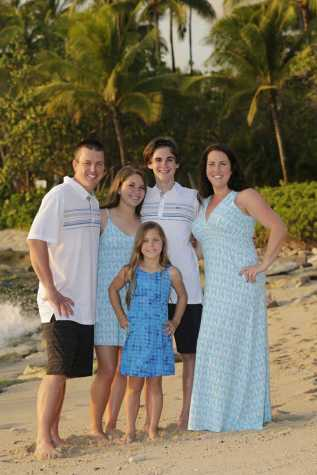 Freshman Zak Wright (center) with father, Patrick, twin Maddori, sister Peyton and mother, Michelle, get professional pictures taken in Oahu.