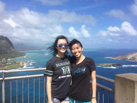 Zoe Dym, '16, stands with her roommate Emily on the island of Oahu.
