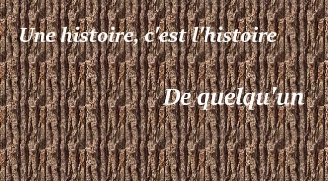 UNE HISTOIRE, C'EST L'HISTOIRE DE QUELQU'UN