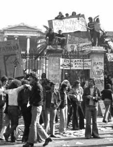 Studentenprotest tegen het regime bij de Atheense Technische Hogeschool 1973