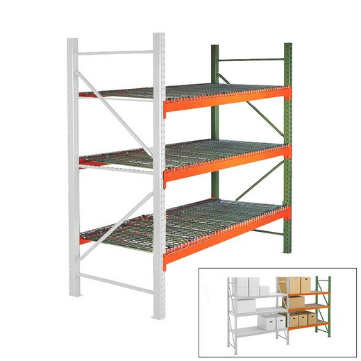 144 h x 144 w x 48 d pallet rack shelving with wire decking add on