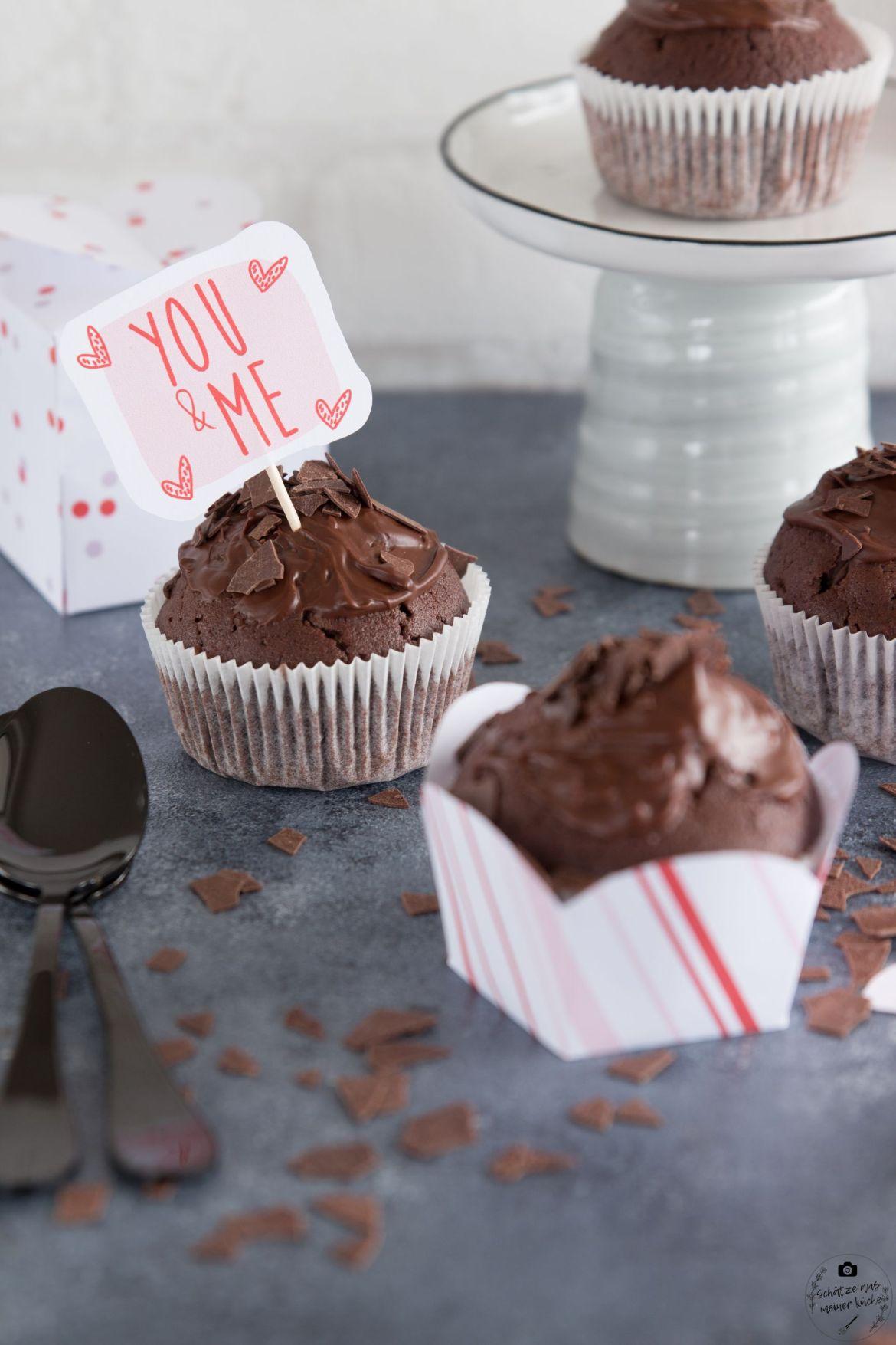 köstliche Rotwein-Schokoladen-Muffins Valentinstag Printable Banderole