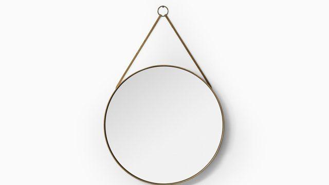 Round mirror in pine and leather by Glasmäster at Studio Schalling