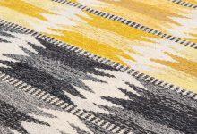 Ingrid Dessau carpet in grey and yellow at Studio Schalling
