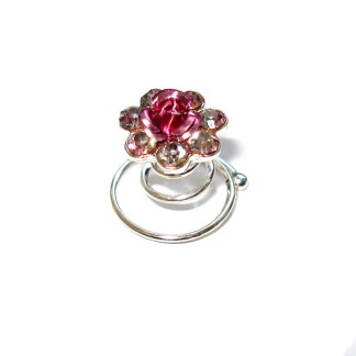 Haarspirale-Curly mit rosa Metallrose & 7 Strasssteinen