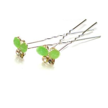 Haarnadel Schmetterling salat-grün mit zwei Strasssteinen