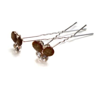 Haarnadel Schmetterling braun mit zwei Strasssteinen