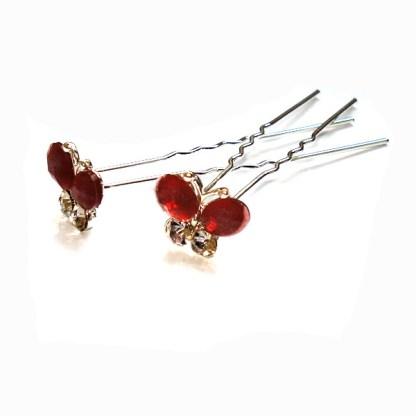 Haarnadel Schmetterling bordeaux-rot mit zwei Strasssteinen