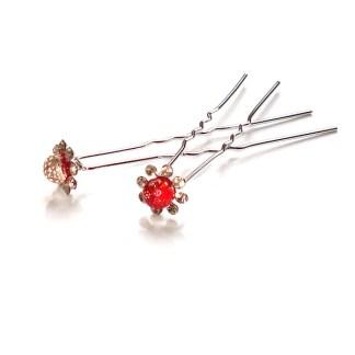 Haarnadel mit roten Kugel und Strass-Steinen