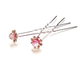 Haarnadel mit Strass-Steinen & Kugel in rosa