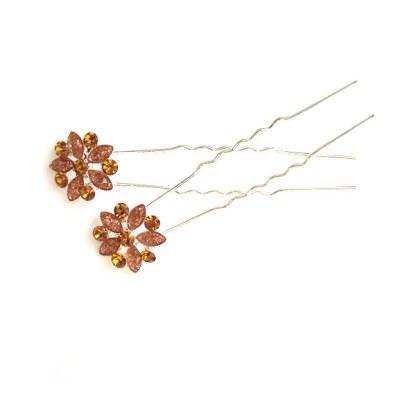 Haarnadel in goldbraun mit Strassblüten