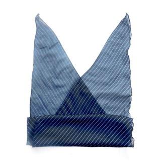 Polyester Schal in blau mit weißen Streifen