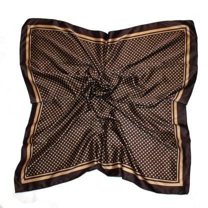 Edles italienisches Halstuch in braun gepunktet 90 x 90 cm