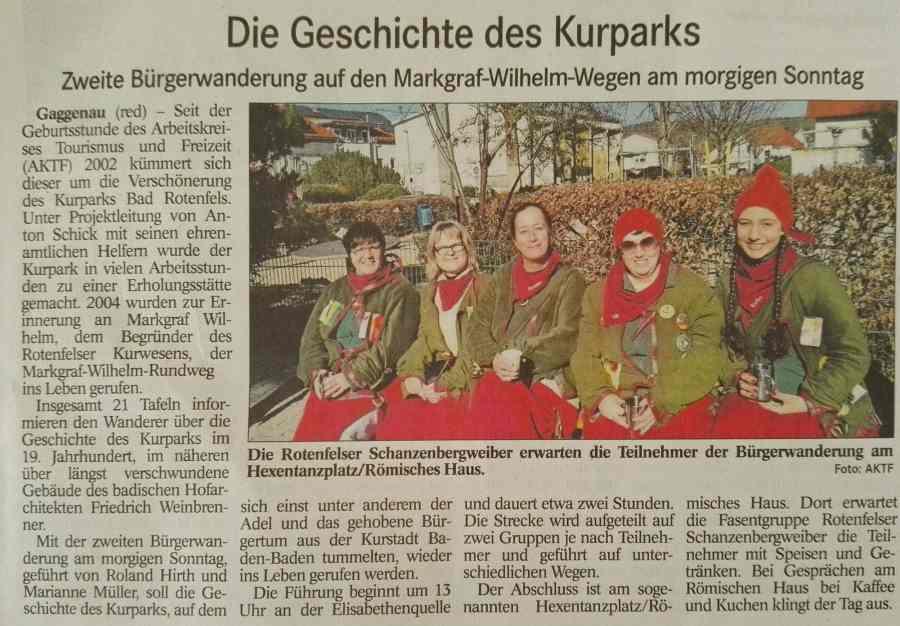 Zeitungsartiel aus dem Badischen Tagblatt zur Ankündigung der Bürgerwanderung