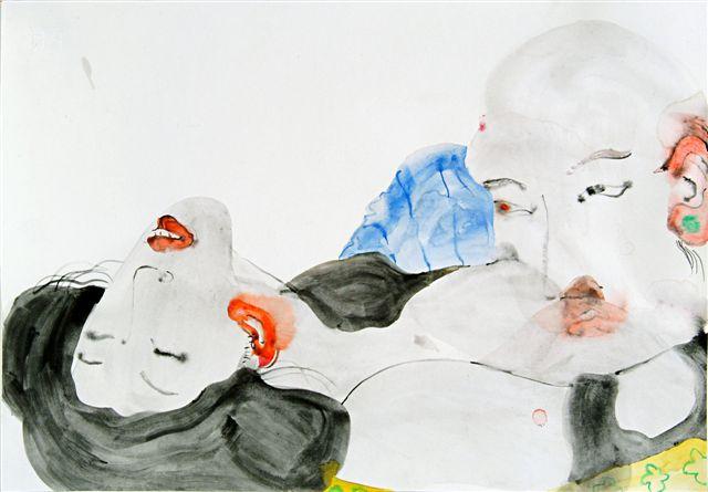 """עמי פייצביץ', ללא כותרת, 2006, צבעי מים על נייר, 50*35 ס""""מ, אוסף האמן."""