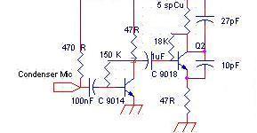 Schemă emițător FM cu 2 tranzistori pretabil miniaturizare, 30m