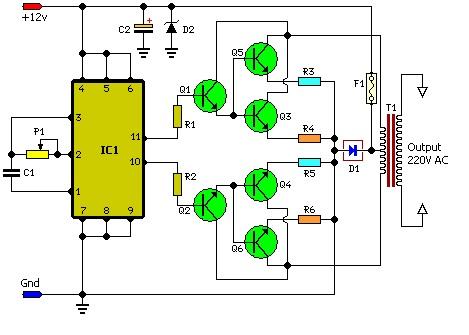 Schema simpla invertor 100W - 100W simple invertor schematic