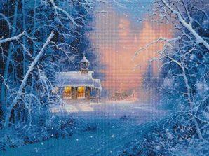 paesaggio sotto la neve- schema a punto croce invernale