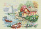 schema punto croce casa sul lago-Peaceful_Lake_House_DMC