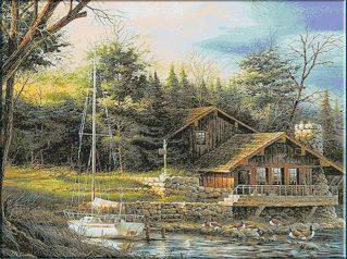 schema punto croce cottage