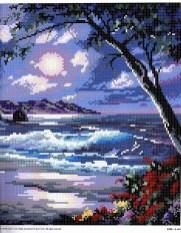 paesaggio marino con spiaggia e onde-schema a punto croce spiaggia sotto la luna (1)