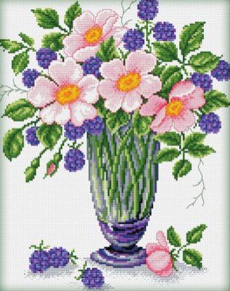 Vaso di fiori da ricamare con la tecnica del punto croce grazie allo schema che trovi sotto