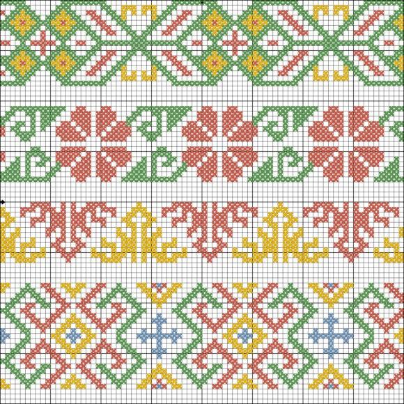Una raccolta di schemi a punto croce per ricamare piccoli o grandi bordi utili a personalizzare ed abbellire biancheria per la casa, asciugamani ,capi d'abbigliamento per bambini, borse o quello che vuoi tu
