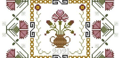 schema sampler con fiori rosa