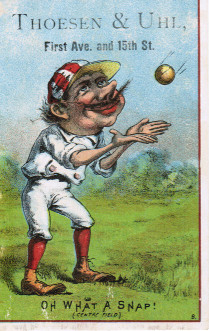 Sample baseball advertising trade card from Set H 804-15A