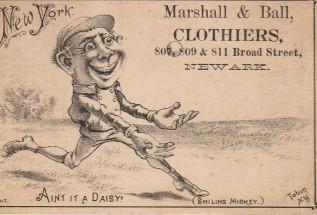 Sample baseball advertising trade card from Set H 804-22