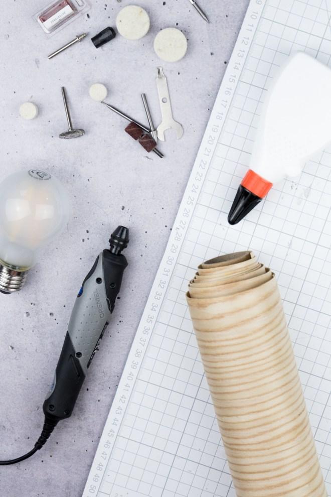 Holzfurnier Lampe selber bauen - -schereleimpapier DIY und Upcycling Blog aus Berlin - kreative Tutorials für DIY Geschenke, DIY Möbel und DIY Deko zum Basteln
